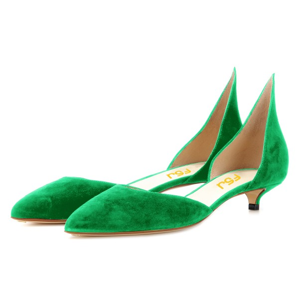 Green Kitten Heels Pointy Toe Pumps Suede Shoes image 1