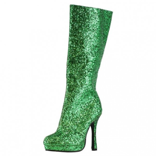 Women's Green Glitter Boots Closed Toe Party Platform Boots image 1