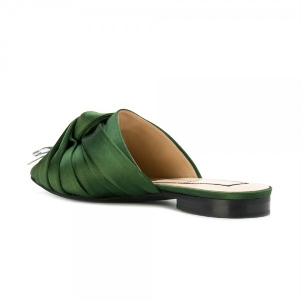 Green Satin Bow Mule Pointy Toe Flats image 3