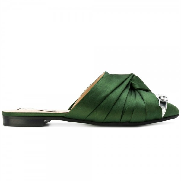 Green Satin Bow Mule Pointy Toe Flats image 2