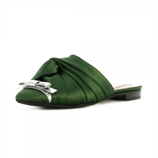 Green Satin Bow Mule Pointy Toe Flats image 1