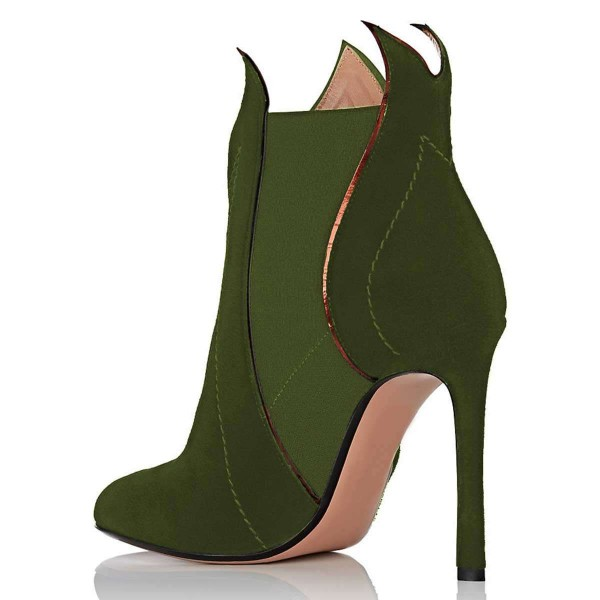 Green Suede Stiletto Heel Fashion Ankle Booties image 3