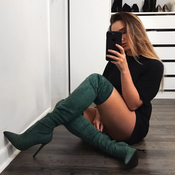 Green Suede Thigh High Heel Boots image 1