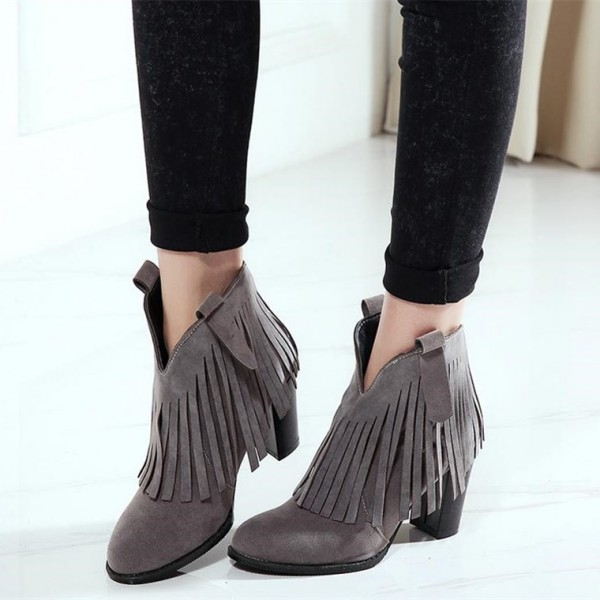 Grey Fringe Boots Round Toe Chunky Heel Suede Ankle Boots image 2