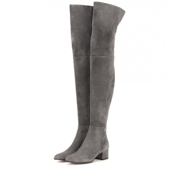 Grey Low Heel Suede Boots Fashion Thigh High Long Boots image 1