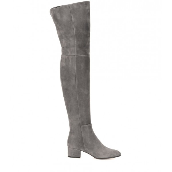 Grey Low Heel Suede Boots Fashion Thigh High Long Boots image 4