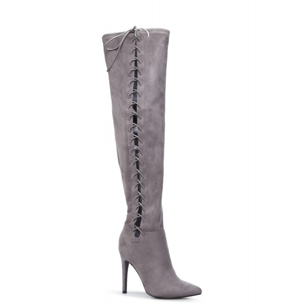 Grey Long Boots Suede Side Thigh High Lace Up Boots image 4