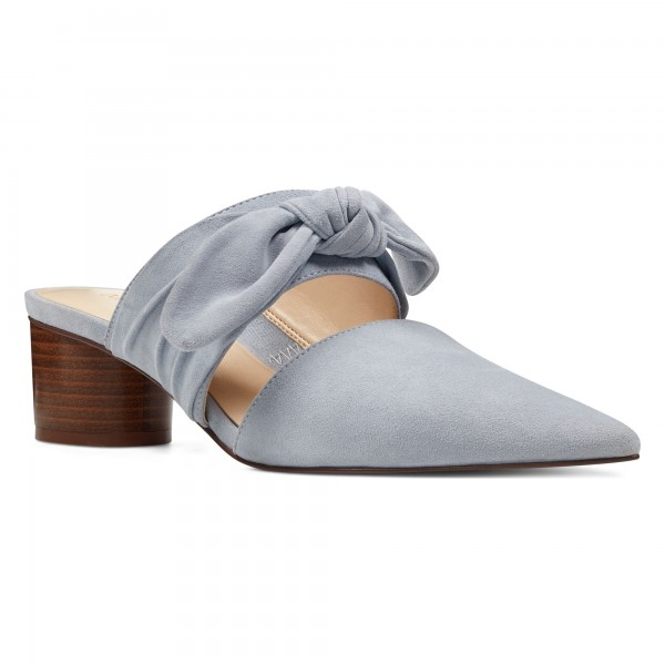 Grey Pointy Toe Mule Heels Block Heel Suede Shoes with Bow image 3