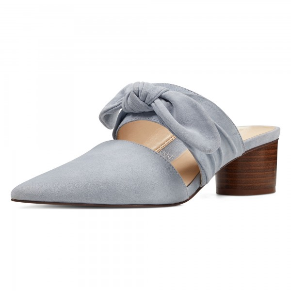 Grey Pointy Toe Mule Heels Block Heel Suede Shoes with Bow image 1