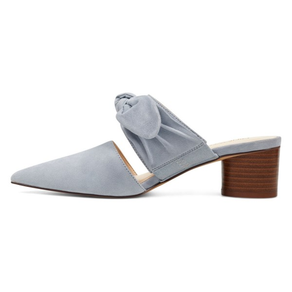 Grey Pointy Toe Mule Heels Block Heel Suede Shoes with Bow image 4