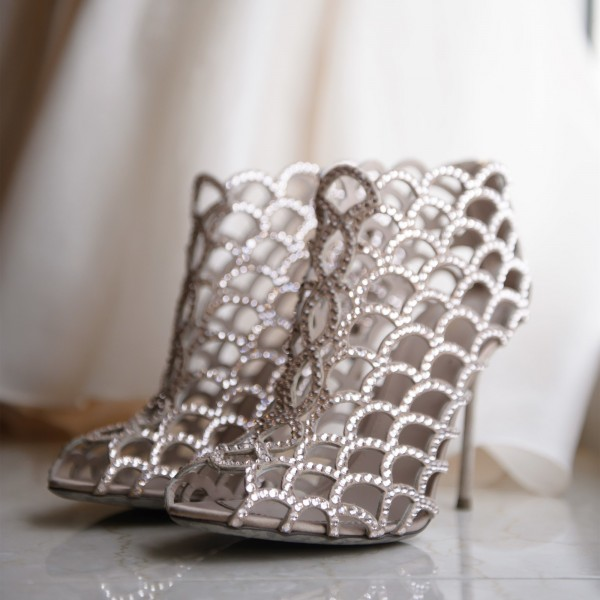 Women's Nude Rhinestone Stiletto Heels Cage Bridal Sandals image 5