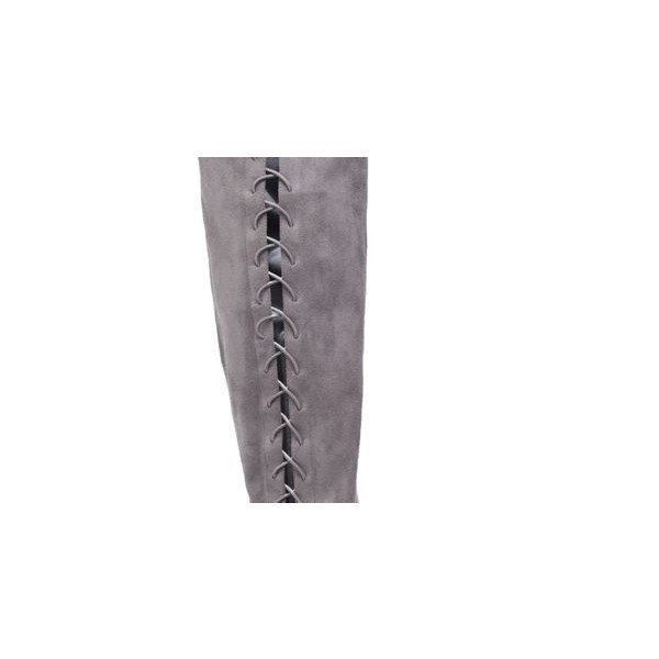 Grey Long Boots Suede Side Thigh High Lace Up Boots image 3
