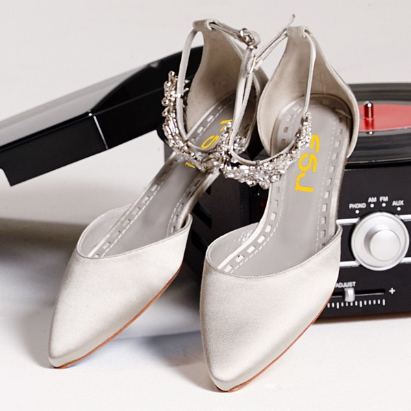 Grey Wedding Shoes | Grey Flat Wedding Shoes Satin Pointy Toe Rhinestone Ankle Strap