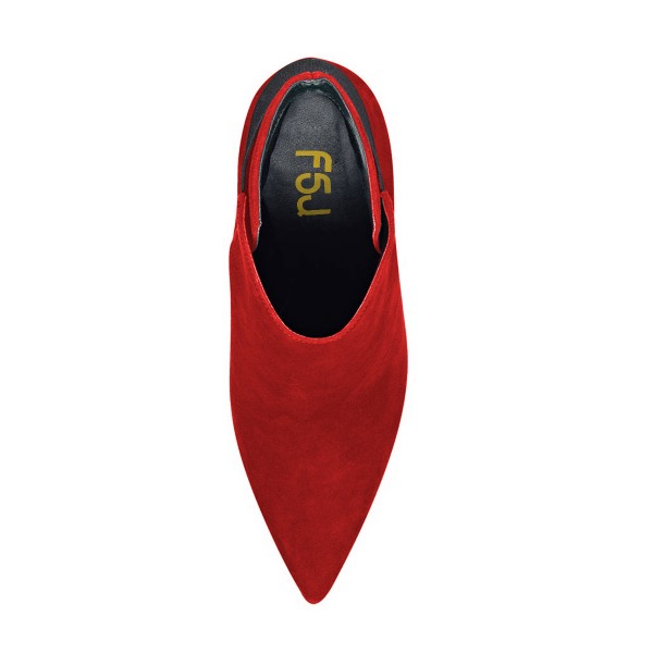 FSJ Red Suede Boots Pointy Toe Stiletto Heel Fashion Ankle Booties image 4