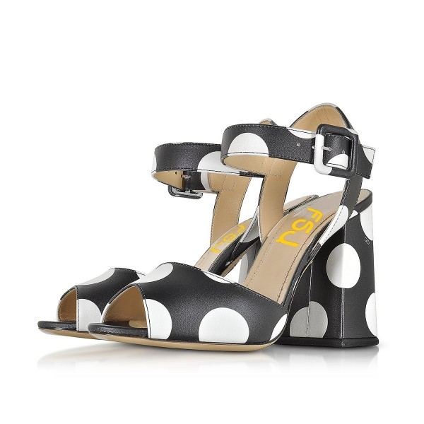 Women's Black and White Polka Dots Chunky Heel Sandals  image 1