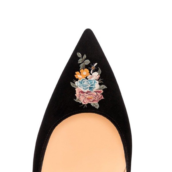 Women's Pointy Toe Black Suede Floral Office Heels Stiletto  Pumps image 3