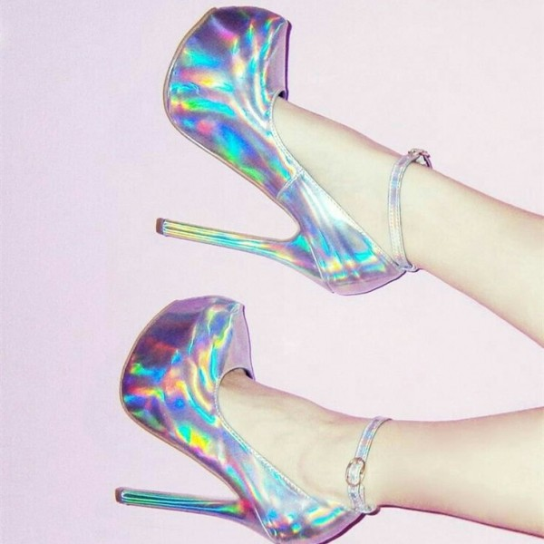 Holographic Shoes Stiletto Heel Ankle Strap Pumps with Platform image 1