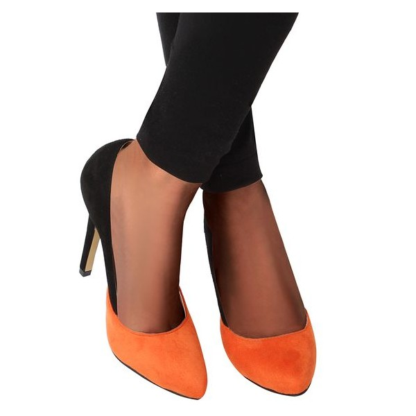 Orange and Black Suede Stiletto Heels Office Heels Pumps image 4