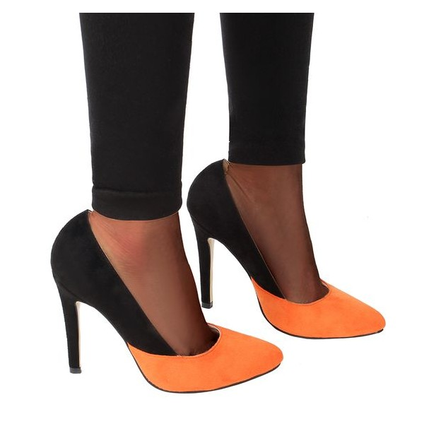 Orange and Black Suede Stiletto Heels Office Heels Pumps image 3