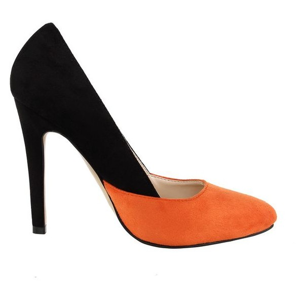 Orange and Black Suede Stiletto Heels Office Heels Pumps image 2