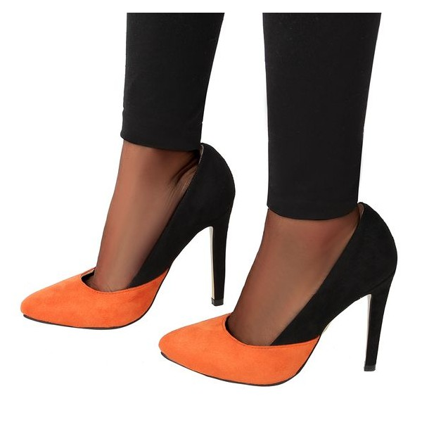 Orange and Black Suede Stiletto Heels Office Heels Pumps image 1