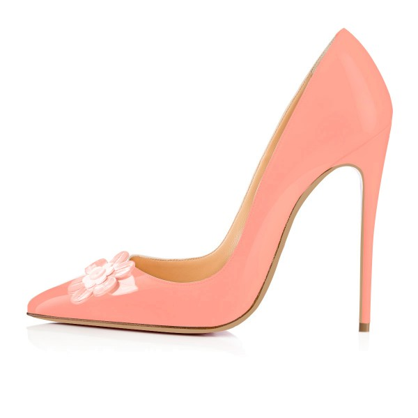FSJ Pink Stiletto Heels Floral Pointy Toe Pumps for Female image 3
