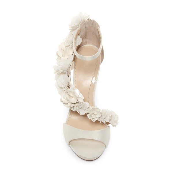 Ivory Wedding Shoes Satin Flowers Peep Toe Ankle Strap Sandals image 5