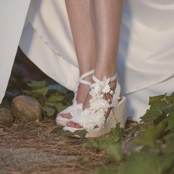 Ivory Lace Floral Wedding Wedges Peep Toe Bridal Platform Sandals image 2