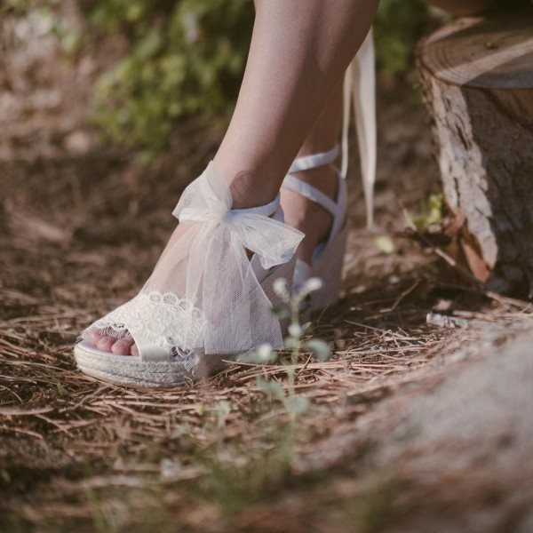Lace White Wedding Shoes Wedges Bridal Heels Platform Sandals image 4