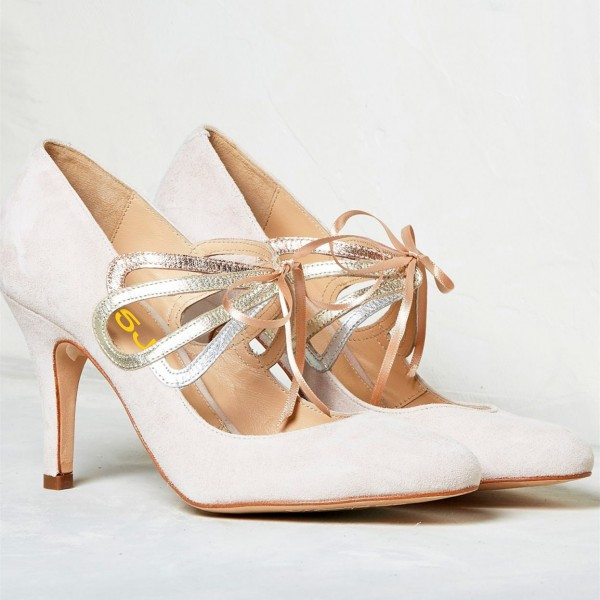 Ivory Bridal Heels Lace up Suede Stiletto Heel Pumps for Wedding image 6