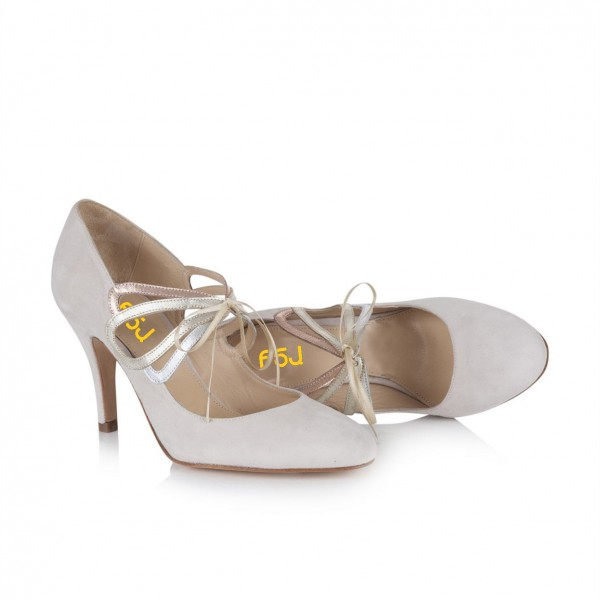 Ivory Bridal Heels Lace up Suede Stiletto Heel Pumps for Wedding image 5