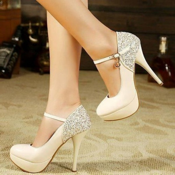 Ivory Mary Jane Pumps Glitter Platform High Heels Shoes image 1