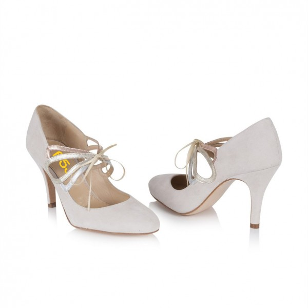 Ivory Bridal Heels Lace up Suede Stiletto Heel Pumps for Wedding image 4