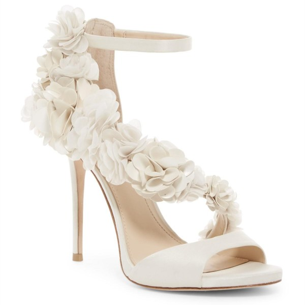 Ivory Wedding Shoes Satin Flowers Peep Toe Ankle Strap Sandals image 3