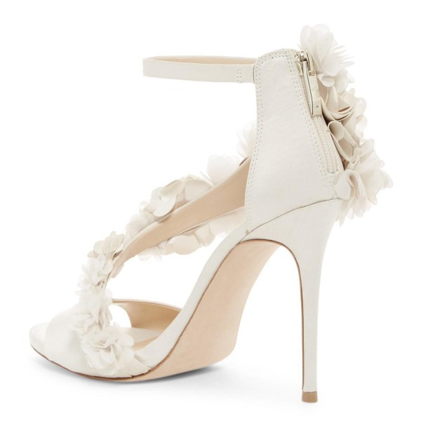 Ivory Wedding Shoes Satin Flowers Peep Toe Ankle Strap Sandals image 4