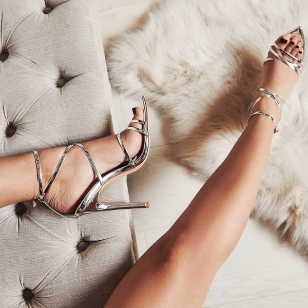 Silver Metallic Stiletto Heel Strappy Sandals image 1