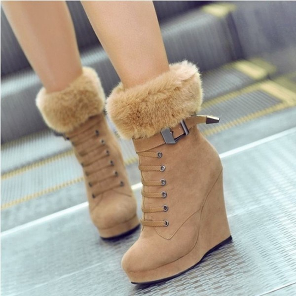 Khaki Fur Boots Lace up Suede Vintage Wedge Booties image 1