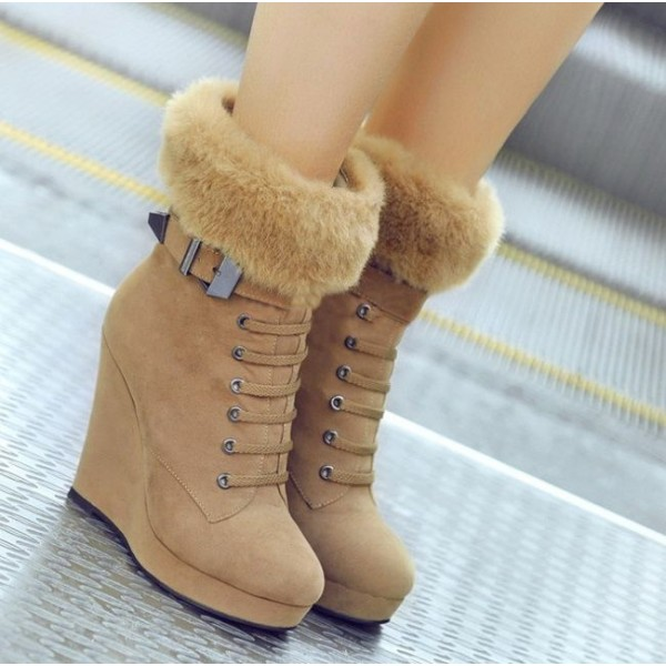Khaki Fur Boots Lace up Suede Vintage Wedge Booties image 2