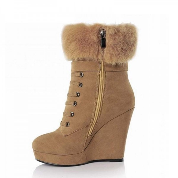 Khaki Fur Boots Lace up Suede Vintage Wedge Booties image 3
