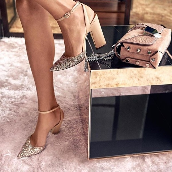 Khaki Glitter Slingback Heels Pointy Toe Ankle Strap Sandals for Women image 1
