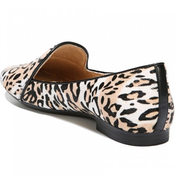Khaki Horsehair Leopard Print Flats Loafers for Women image 2