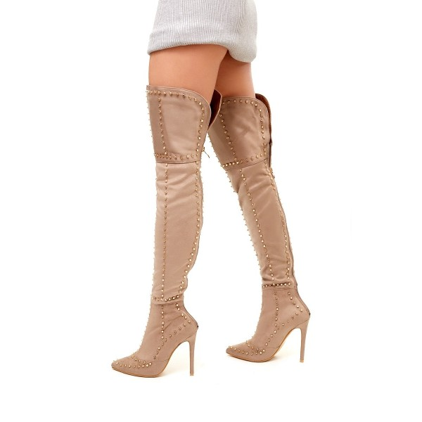 Khaki Studed Thigh High Stiletto Heel Long Boots with Zipper image 1