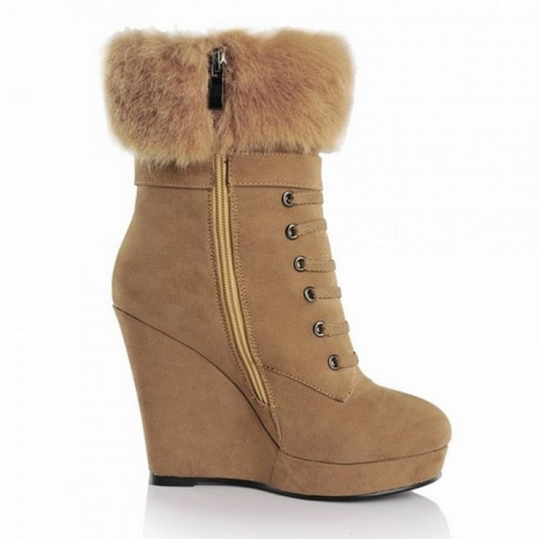 Khaki Fur Boots Lace up Suede Vintage Wedge Booties image 5