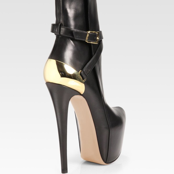 Black and Gold Fall Boots Closed Toe Crisscross Strap Platform Boots image 3