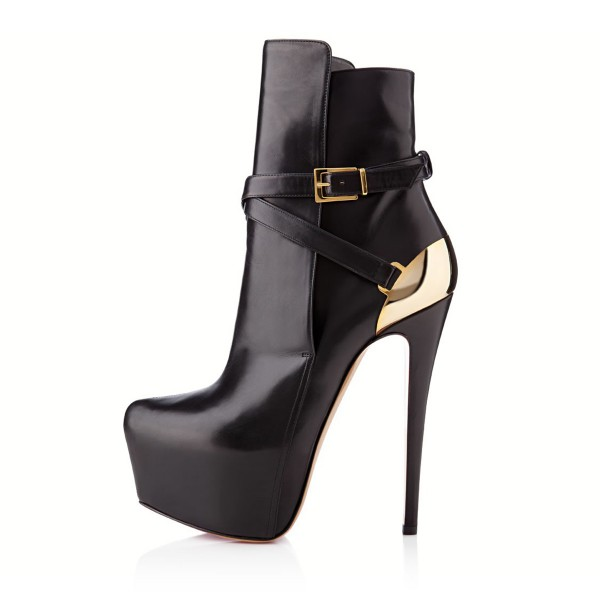 Black and Gold Fall Boots Closed Toe Crisscross Strap Platform Boots image 5
