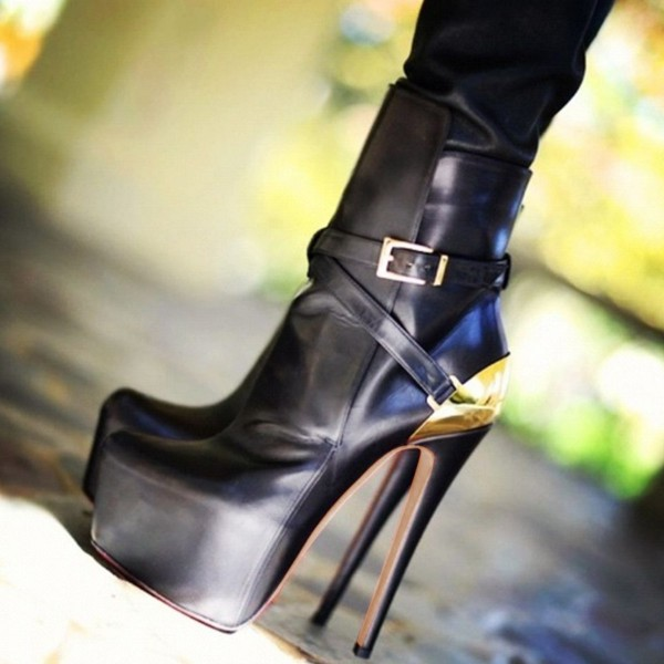 Black and Gold Fall Boots Closed Toe Crisscross Strap Platform Boots image 1