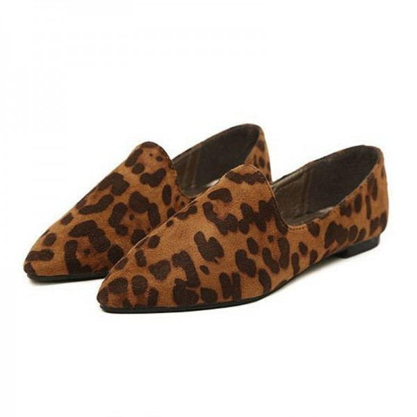 Leopard Print Flats Brown Slip-on Comfortable Shoes image 1