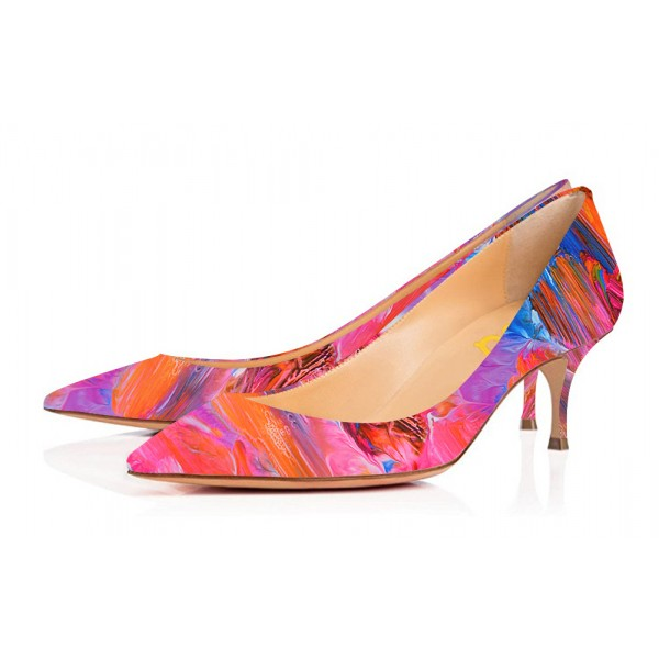 Colorful Abstract Art Kitten Heels Pointy Toe Pumps by FSJ image 1