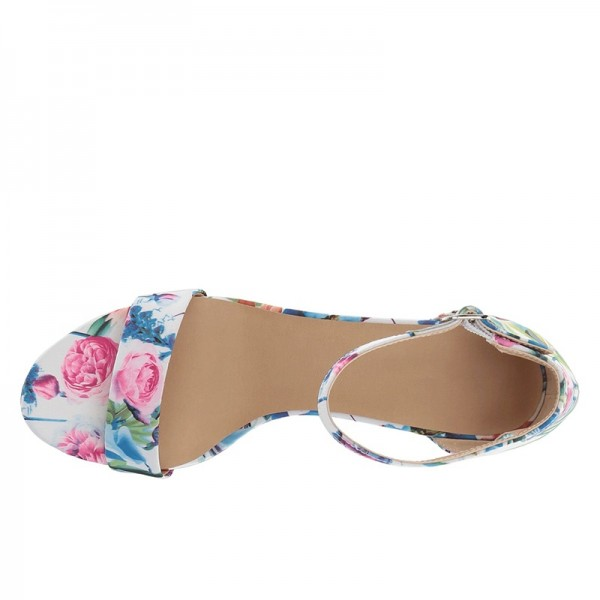 Multicolor Floral Chunky Heel Open Toe Ankle Strap Sandals image 2