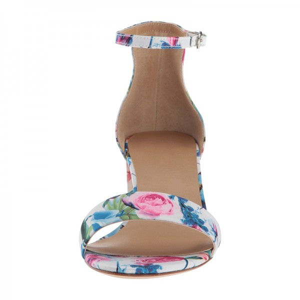 Multicolor Floral Chunky Heel Open Toe Ankle Strap Sandals image 3